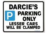 DARCIE'S Personalised Parking Sign Gift | Unique Car Present for Her |  Size Large - Metal faced